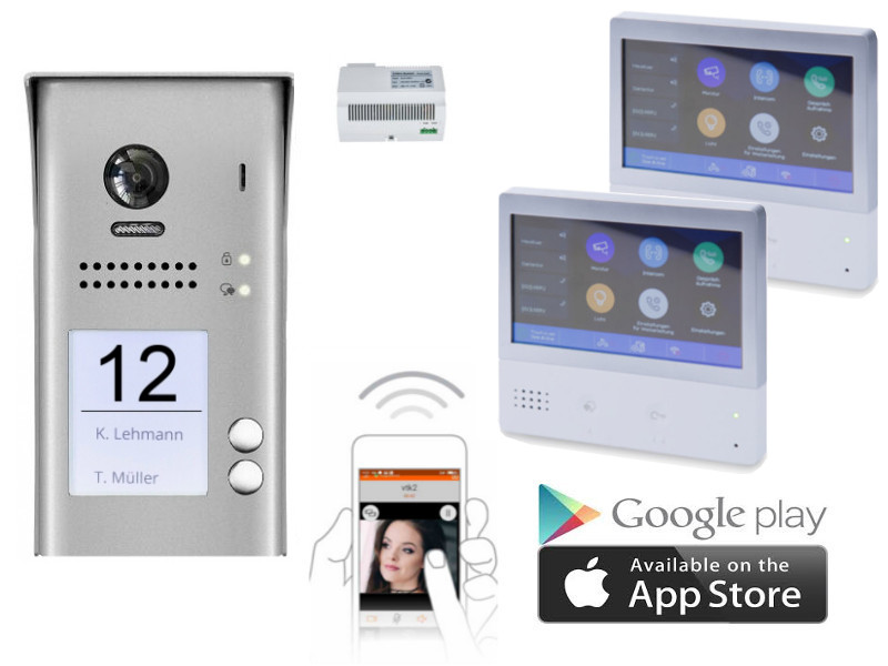 2 familien video t rsprechanlagen set aufputz mit smartphone anbindung. Black Bedroom Furniture Sets. Home Design Ideas