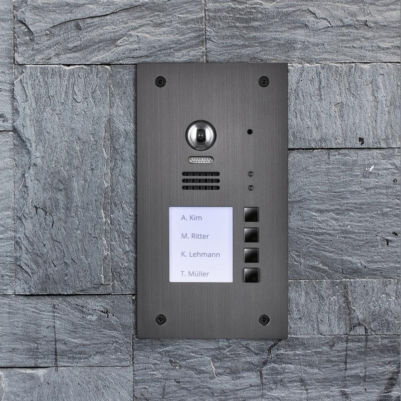 Neu-evida-graphit-rfid-edelstahl-tuerstation-4-teilnehmer-2-draht-bus-technologie-170-ultra-weitwinkelkamera