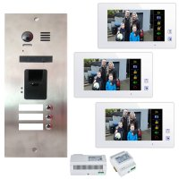 3 Familien Video Türsprechanlagen Set mit integrierten Fingerprint