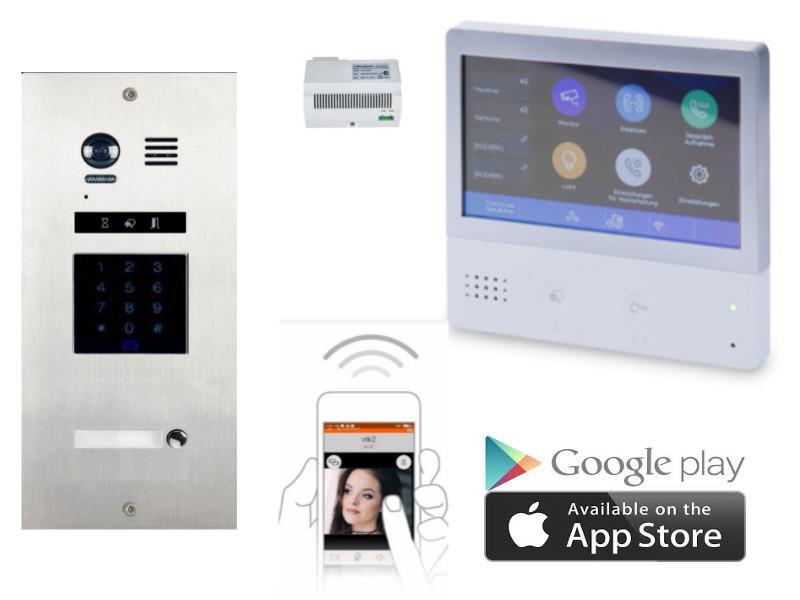 video t rsprechanlage als komplettset mit codeschloss und handy app. Black Bedroom Furniture Sets. Home Design Ideas