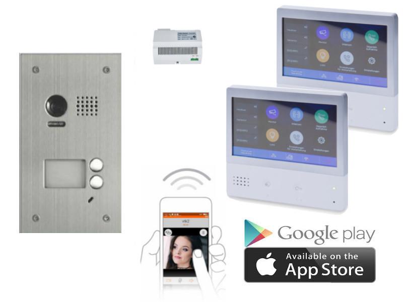 2 familien video t rsprechanlagen set unterputz mit smartphone anbindung. Black Bedroom Furniture Sets. Home Design Ideas