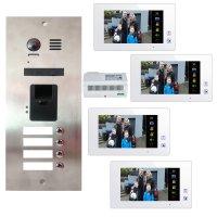 4 Familien Video Türsprechanlagen Set mit integrierten Fingerprint