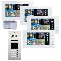 Elogoo 4 Familien 2 Draht RFID Video Türsprechanlage Komplettset